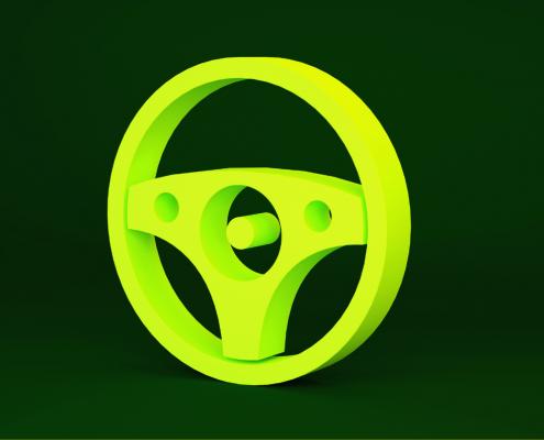 volante de carro verde