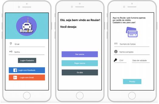 Três telas de celular com o projeto do aplicativo aberto.