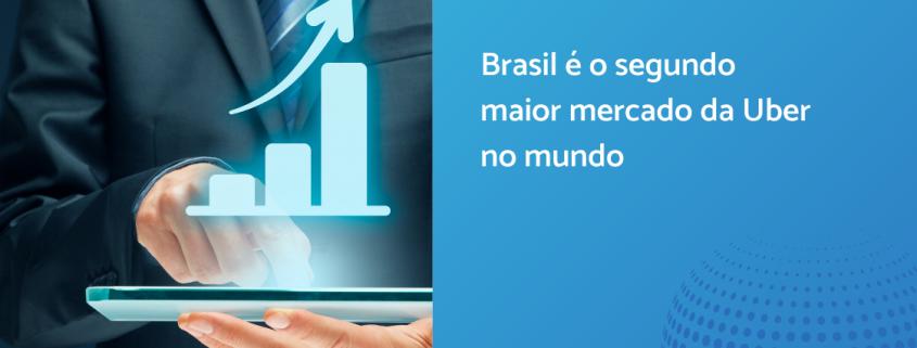 À esquerda, homem de terno com tablet na mão. À direita está escrito: Brasil é o segundo maior mercado da Uber no mundo