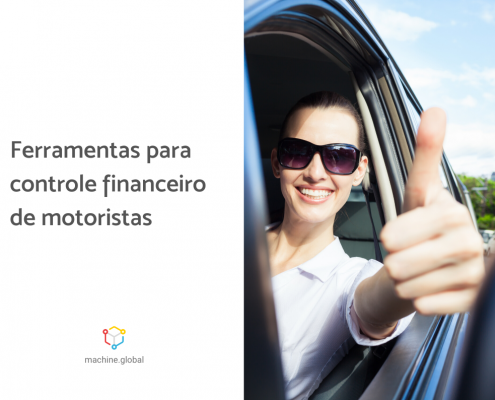Motorista faz sinal de positivo com dedo polegar levantado. Ao lado está escrito: ferramentas para controle financeiro de motoristas