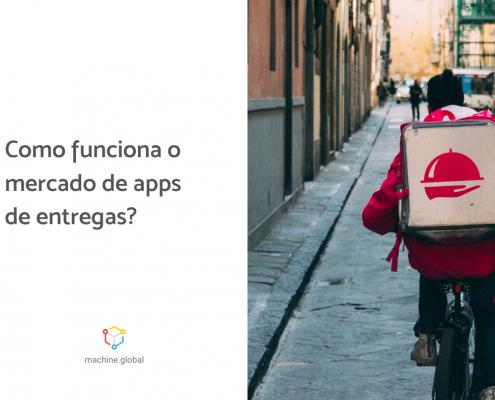 Entregador em uma bicicleta, ao lado está escrito: como funciona o mercado de apps dentrega?