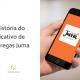 Mão segurando um celular com o aplicativo Juma entregas aberto, ao lado está escrito: a história do aplicativo de entregas Juma