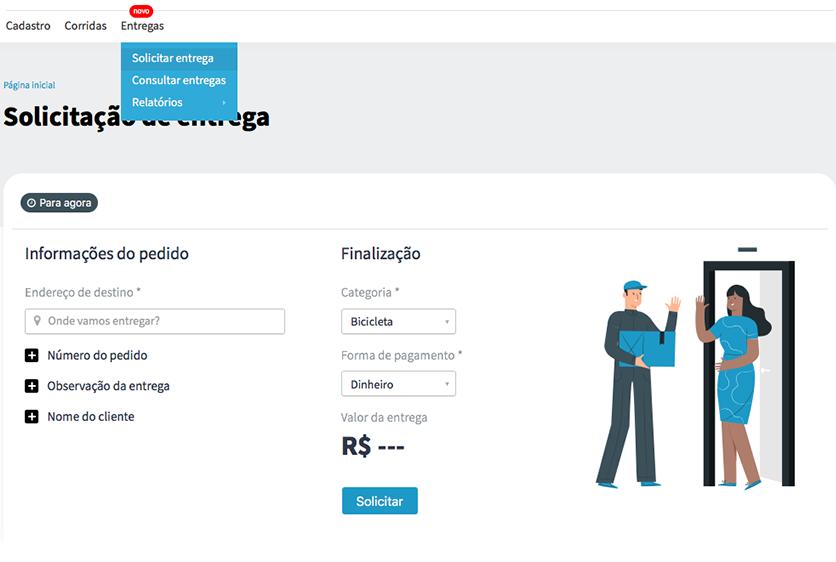 Imagem do painel de solicitação de entregas da Machine.