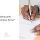 Mão masculina assina um documento, ao lado está escrito: motoboy pode reconhecer firma?
