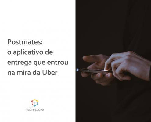 Na imagem, uma pessoa segura um celular. Ao lado está escrito: postmates: o aplicativo de entrega que entrou na mira da uber