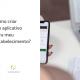 mulher com celular e caneta nas mãos com a legenda ao lado: Como criar um aplicativo para meu estabelecimento?