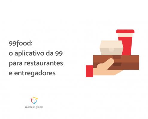 """Ilustração da mão de um entregados carregando lanches. Ao lado está escrito, """"99food: o aplicativo da 99 para restaurantes e entregadores"""