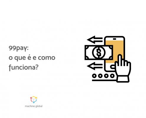 """Ilustração de uma mão realizando transações financeiras pelo celular, ao lado está escrito """"99pay: o que é e como funciona?"""""""