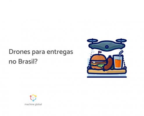 Ilustração de um drone carregando lanches, ao lado está escrito: drones para entregas no Brasil?