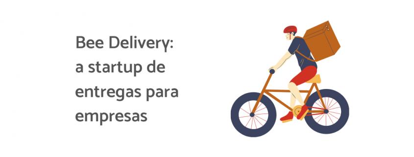 """Ilustração de um entregador em uma bicicleta com uma bad nas costas, ao lado está escrito """"Bee Delivery: a startup de entregas para empresas"""