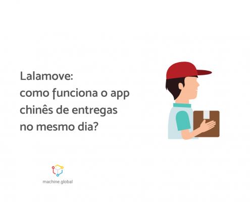 """Na ilustração, um entregador segura uma caixa, ao lado está escrito """"lalamove: como funciona o app chinês de entregas no mesmo dia"""""""