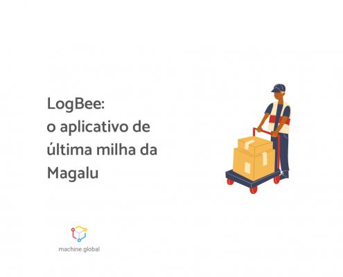 """Ilustração de um rapaz puxando um carinho com algumas caixas, ao lado está escrito """"LogBee: o aplicativo de última milha da Magalu"""