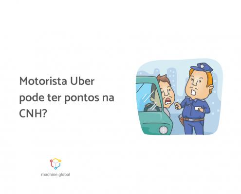 """Ilustração de um policial aplicando uma multa em um motorista, ao lado está escrito """"motorista uber pode ter pontos na cnh?"""""""