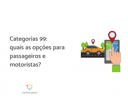"""Ilustração de um aplicativo de transporte, há uma mão clicando na tela do celular e ao lado um carro amarelo. Ao lado da imagem está escrito """"Categorias 99: quais são as opções para motoristas e passageiros?"""""""
