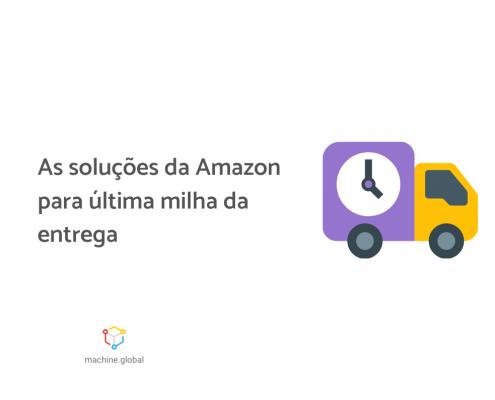"""Ilustração de um pequeno caminhão, ao lado está escrito """"as soluções da Amazon para última milha da entrega""""."""