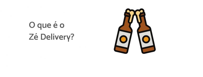 """Ilustração de duas cervejas e ao lado está escrito """"o que é o zé delivery?""""."""