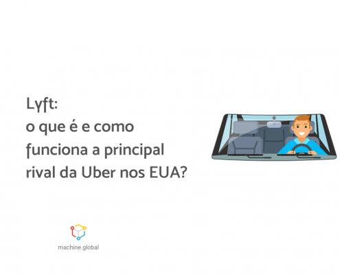 """Ilustração de um motorista em seu veículo, ao lado está escrito: """"Lyft: o que é e como funciona a principal rival da Uber nos EUA?"""""""