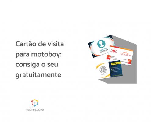 """Três cartões de visita e ao lado está escrito """"Cartão de visita para motoboy: consiga o seu gratuitamente"""""""