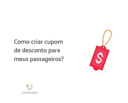 """Ilustração de um ticket vermelho com um cifrão, ao lado está escrito """"Como criar um cupom de desconto para meus passageiros?"""""""