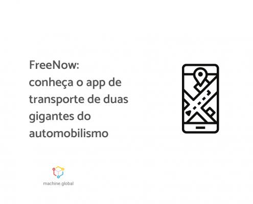 """Ilustração de um celular aberto em um app de transporte, ao lado está escrito: """"FreeNow: conheça o app de transporte de duas gigantes do automobilismo""""."""