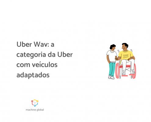 """Ilustração de uma pessoa na cadeira de rodas segurando a mão de uma outra pessoa, ao lado está escrito """"Uber Wav: a categoria da Uber com veículos adaptados""""."""