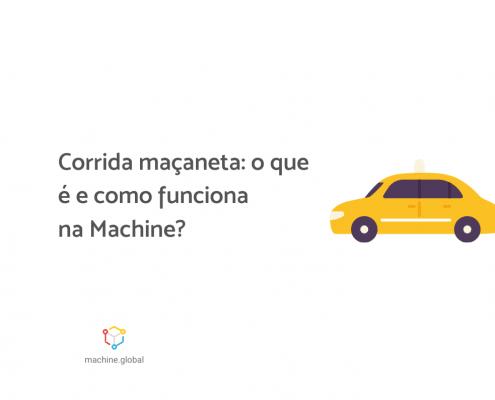 """Ilustração de um táxi, ao lado está escrito """"Corrida maçaneta: o que é e como funciona na Machine?"""