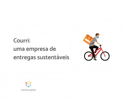 """Ilustração de um entregador. Ele está de máscara, com uma bag nas costas e dirigindo uma bicicleta. Ao lado está escrito """"Couri: uma empresa de entregas sustentáveis""""."""