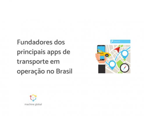 """Uma mão carrega um celular aberto em um app de transporte. Ao lado está escrito """"Fundadores dos principais apps de transporte em operação no Brasil"""""""