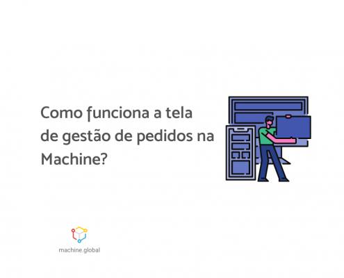 """Ilustração de uma pessoa cerca de telas, ele está segundo um computador. Ao lado está escrito """"Como funciona a tela de gestão de pedidos na Machine?"""""""