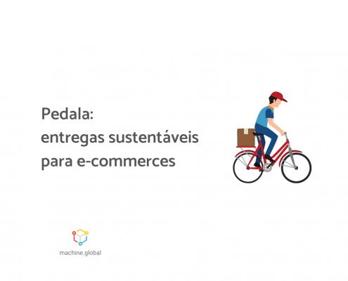 """Ilustração de um entregador em sua bicicleta, ele carrega uma caixa na parte traseira. Ao lado está escrito """"Pedala: entregas sustentáveis para e-commerces"""""""