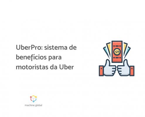 """Ilustração de uma tela de celular com um símbolo de dinheiro, ao lado está escrito """"UberPro: sistema de benefícios para motoristas da Uber""""."""