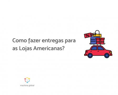 """Ilustração de um carro vermelho com compras em cima, ao lado está escrito """"Como fazer entregas para as Lojas Americanas?"""""""