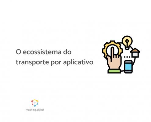 """Uma mão toca uma peça de engrenagem, que acende uma luz, que se conecta com uma casa que por fim se conecta com um celular. Ao lado está escrito """"O ecossistema do transporte por aplicativo"""""""