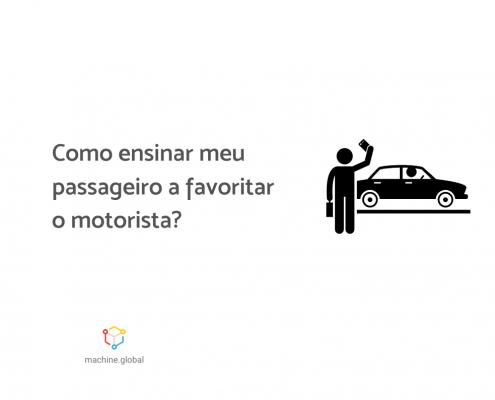 """Ilustração de uma pessoa com um celular na mão chamando um carro de aplicativo, que está em sua frente. Ao lado está escrito """"Como ensinar meus passageiros a favoritar o motorista?"""""""