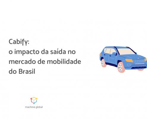 """Ilustração de um carro azul. Ao lado está escrito """"Cabify: o impacto da saída no mercado de mobilidade do Brasil""""."""