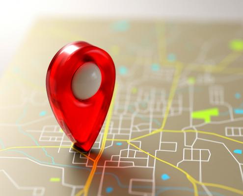 mapa com ícone de localização vermelho