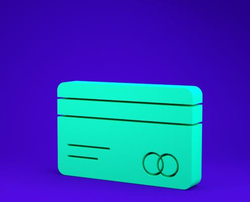 Ilustração 3d de um cartão de crédito genérico na cor turquesa, com fundo azul escuro.