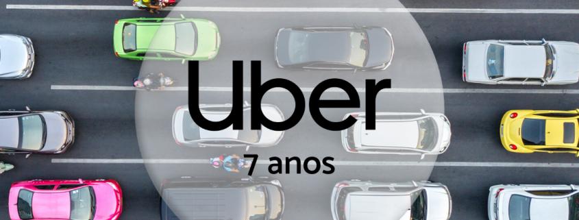 pista e carros no trânsito com um círculo transparente no meio escrito Uber 7 anos