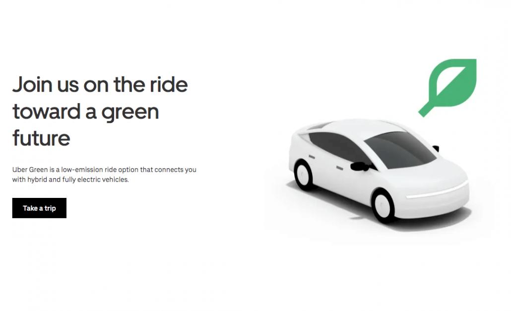Captura de tela da página da Uber Green