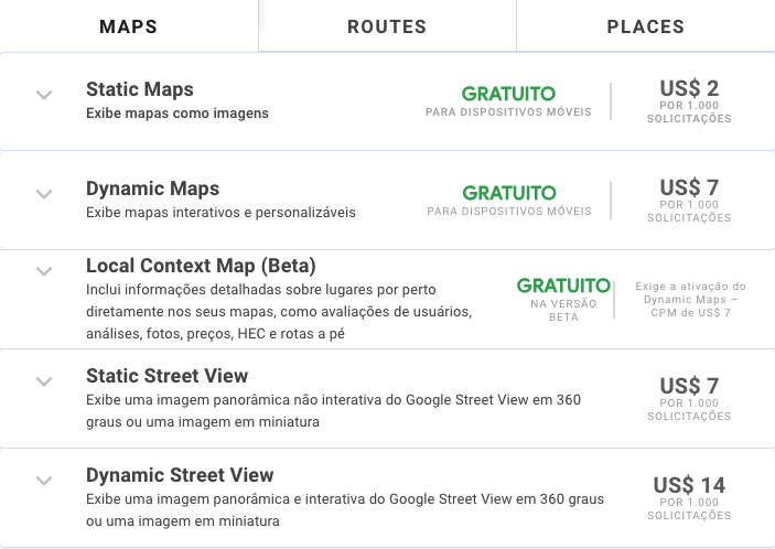 Tabela de preço Google Maps